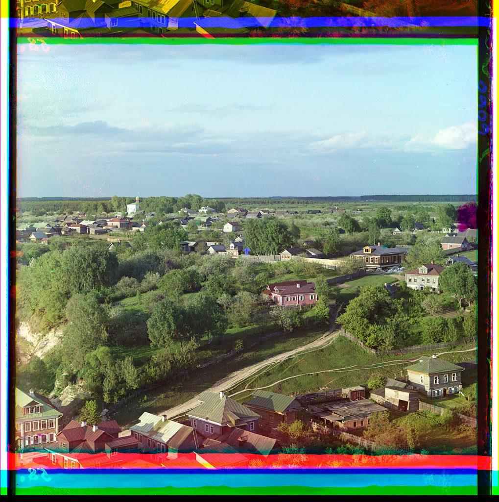 Camino viejo hacia Moscú en la ciudad de Rzhev, al oeste de Moscú. COLECCIÓN DE FOTOGRAFÍAS PROKUDIN-GORSKIĬ, BIBLIOTECA DEL CONGRESO, DIVISIÓN DE GRABADOS Y FOTOGRAFÍAS
